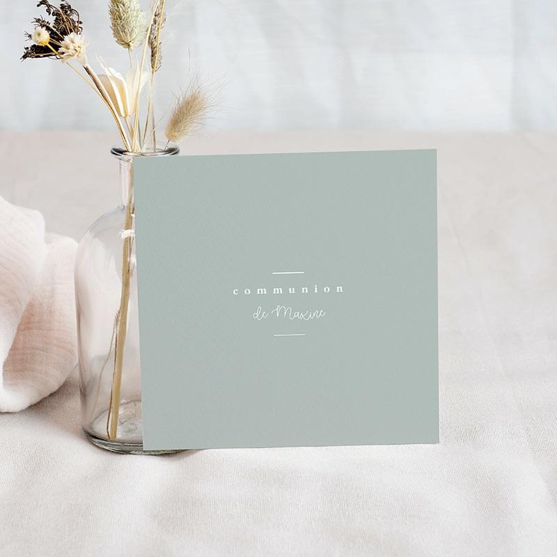 Carte Remerciement Communion Fille Cérémonie fleurie, 10 x 10 cm pas cher