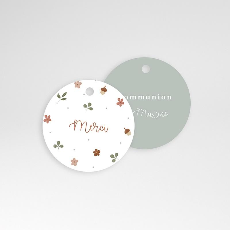 Étiquette Communion Cérémonie fleurie, Ø 4,5 cm pas cher