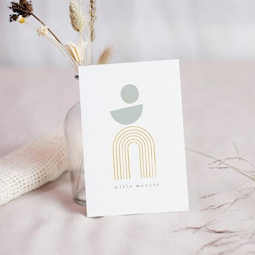 Carte Remerciement Baptême Garçon Entrée d'église, Arches dorées, géométrique, dorure