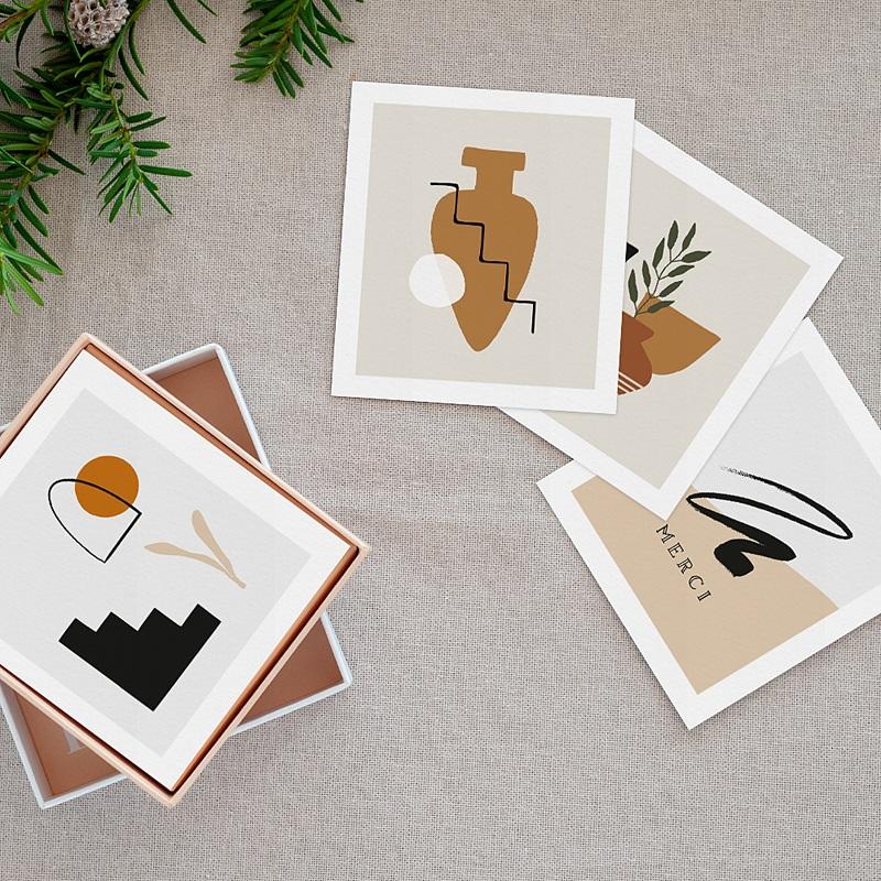 Papeterie Art abstrait, Vases & Visages, lot de 12