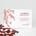 Carte Invitation Mariage Gravure Monochrome, Citrons Rouge Vintage, Brunch