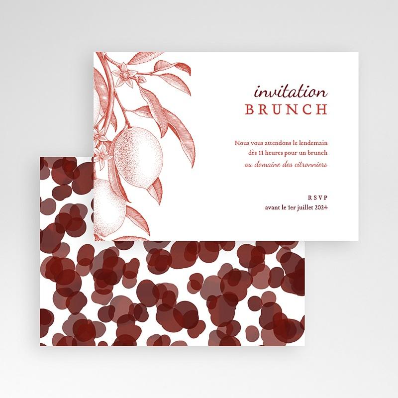 Carte Invitation Mariage Gravure Monochrome, Citrons Rouge Vintage, Brunch pas cher