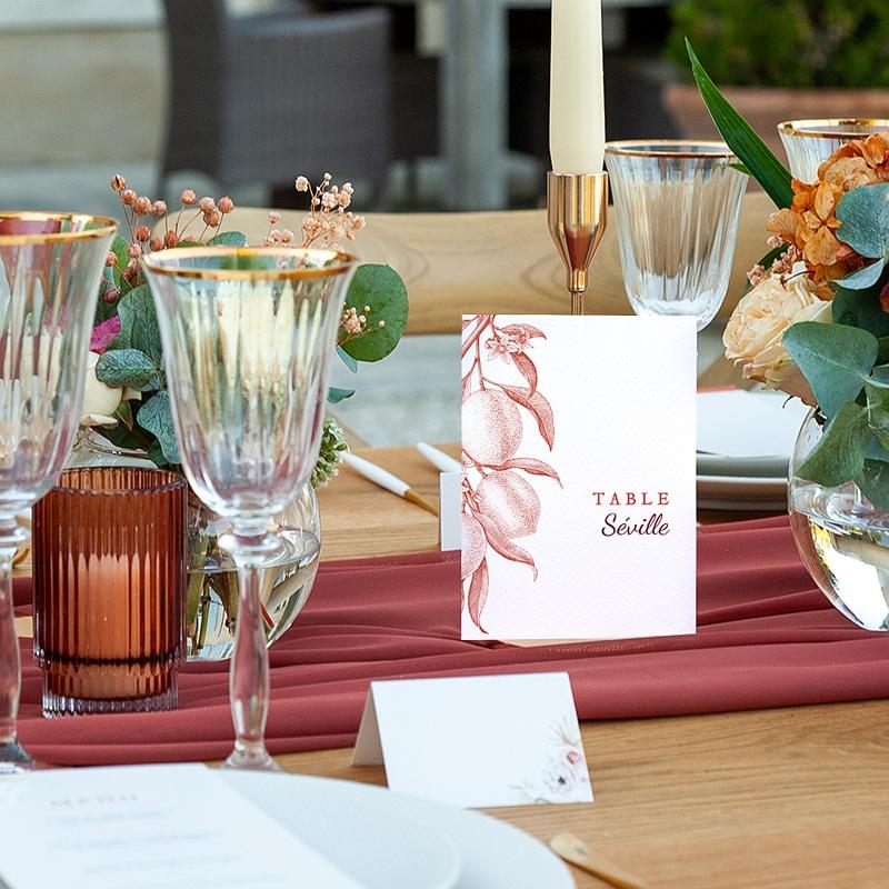 Marque Table Mariage Gravure Monochrome, Citrons Rouge Vintage, Lot de 3 pas cher