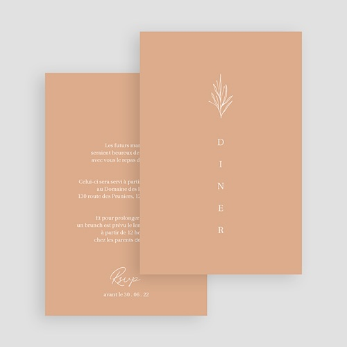 Carte Invitation Mariage Parfaite Harmonie, Ton pastel, Diner & Brunch gratuit