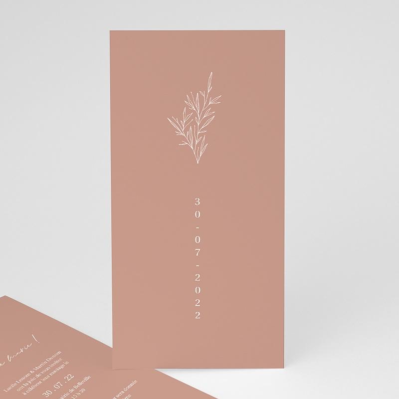Faire-Part Mariage Romantique Parfaite Harmonie, Ton pastel, simple volet, 10 x 21 cm