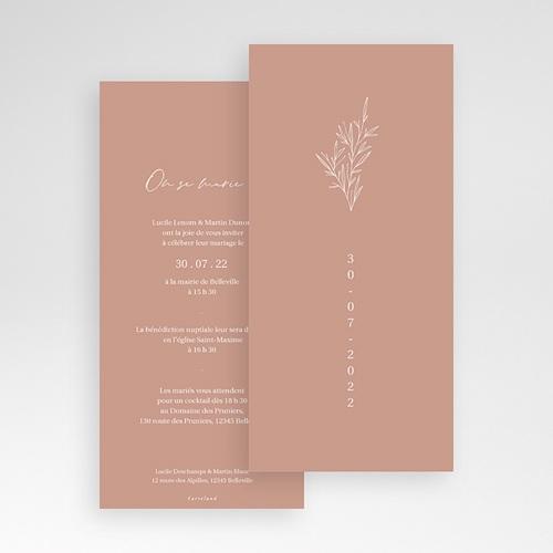 Faire-Part Mariage Romantique Parfaite Harmonie, Ton pastel, simple volet, 10 x 21 cm pas cher