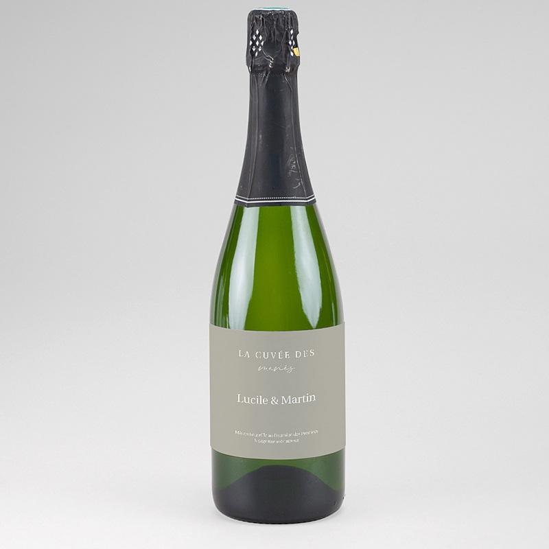 Etiquette Bouteille Champagne Parfaite Harmonie, Ton pastel, Champagne, 13 x 8 cm