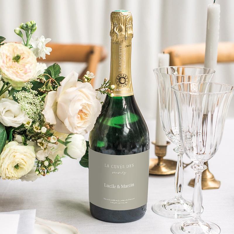 Etiquette Bouteille Champagne Parfaite Harmonie, Ton pastel, Champagne, 13 x 8 cm gratuit