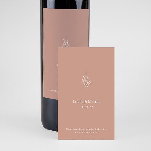 Étiquette bouteille mariage vin Parfaite Harmonie, Ton pastel, Vin, 8 X 13 cm pas cher
