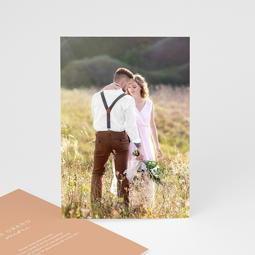 Carte Remerciement Mariage Photo Parfaite Harmonie, Ton pastel, Photo