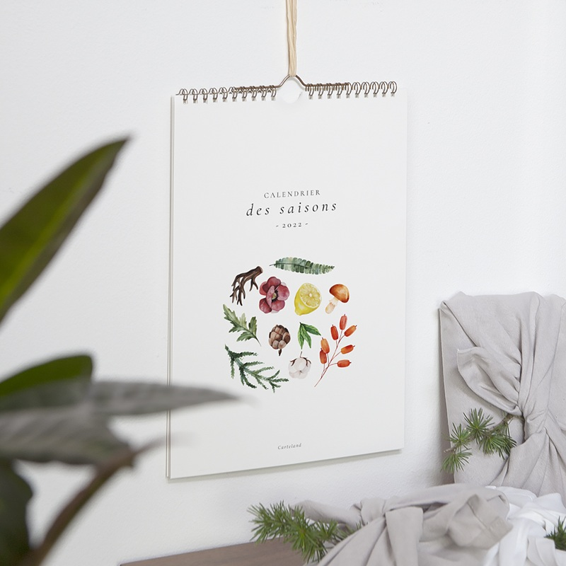 Calendrier Mural Naturel Les 4 saisons, Photos & Illustrations