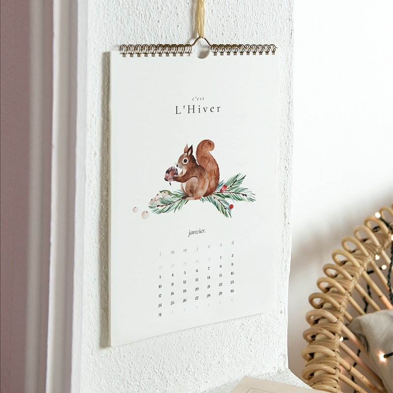 Calendrier Mural Naturel Les 4 saisons, Photos & Illustrations pas cher