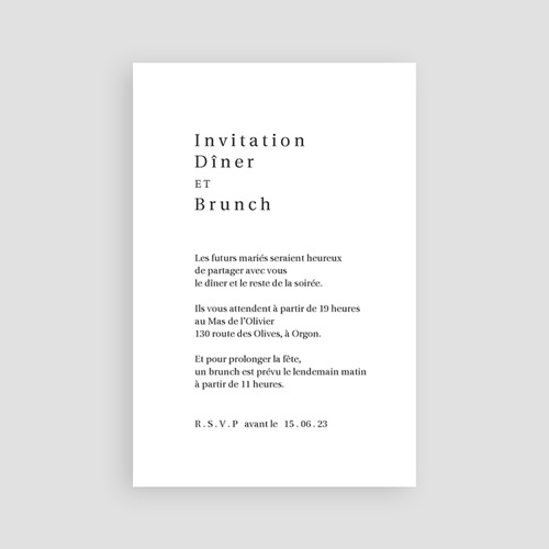 Carte Invitation Mariage L'union parfaite nude chic, Dîner & Soirée pas cher