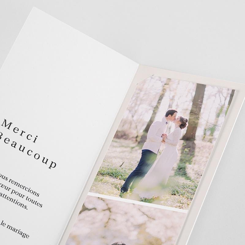 Carte Remerciement Mariage Créatif L'union parfaite 2 en 1, signet 2 photos pas cher