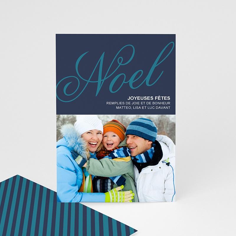 Carte Noël Joyeuses fêtes de Noël en Bleu