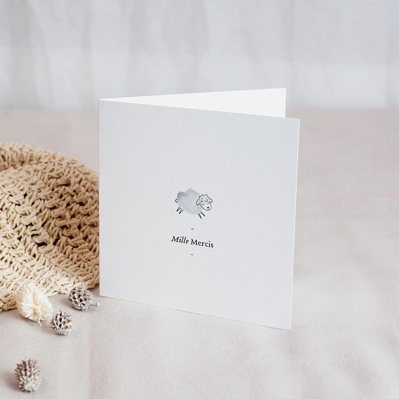 Carte Remerciement Naissance Garçon Douce Miniature, Mouton gris bleu & Photo, double volet