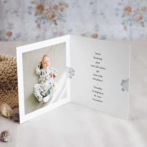 Carte Remerciement Naissance Garçon Douce Miniature, Mouton gris bleu & Photo, double volet pas cher