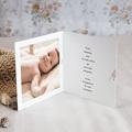 Carte Remerciement Naissance Fille Douce Miniature, Mésange rose & Photo, double volet pas cher