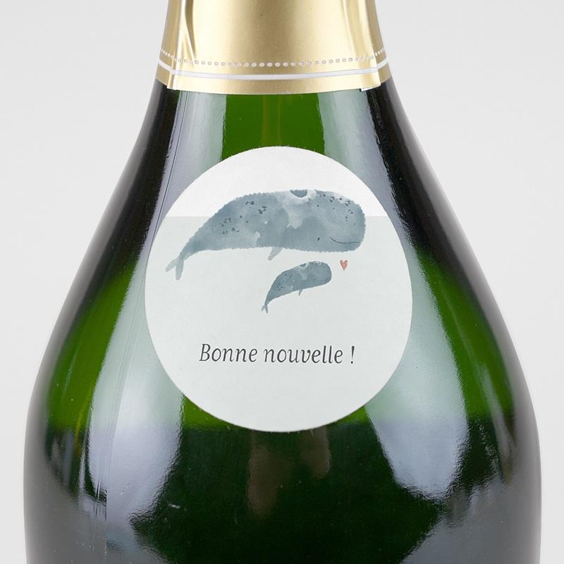 Etiquette Autocollante Naissance Danse des Baleineaux, sticker enveloppe, Ø 4.5 cm