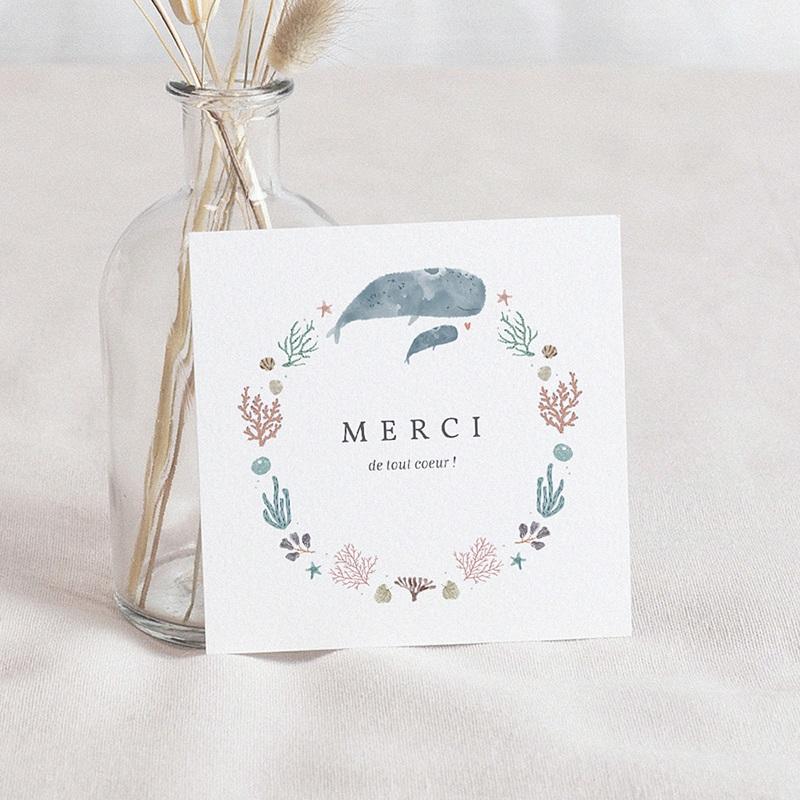 Carte Remerciement Naissance Fille Danse de la mer, Baleineaux & coraux, Merci, 10 x 10 cm
