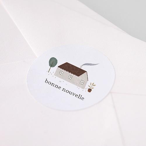 Etiquette Autocollante Naissance Maison du Bonheur, autocollant, Ø 4.5 cm pas cher