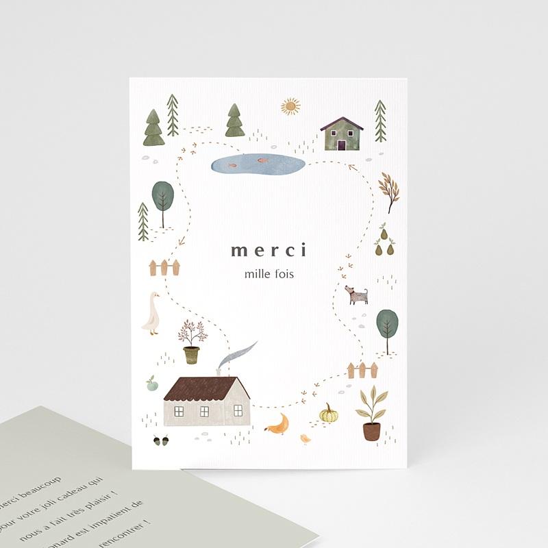 Carte Remerciement Naissance Garçon Maison du Bonheur, Recto Verso, 10 x 15 cm