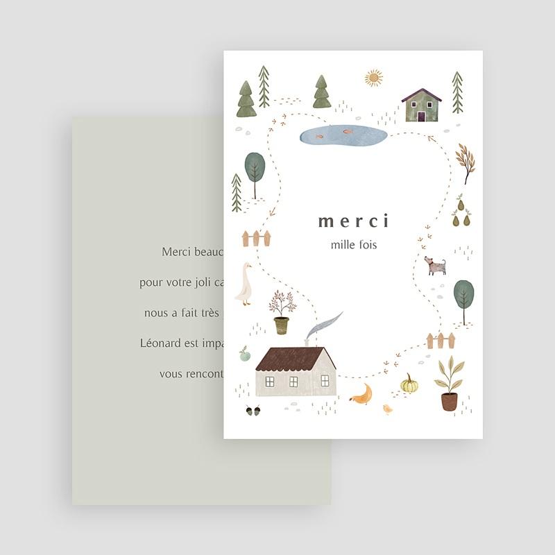 Carte Remerciement Naissance Garçon Maison du Bonheur, Recto Verso, 10 x 15 cm gratuit