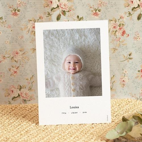 Faire-Part Naissance Fille Douce Miniature, Mésange rose & Photo pas cher