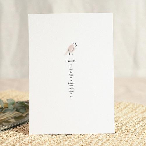 Faire-Part Naissance Fille Douce Miniature, Mésange rose & Photo gratuit