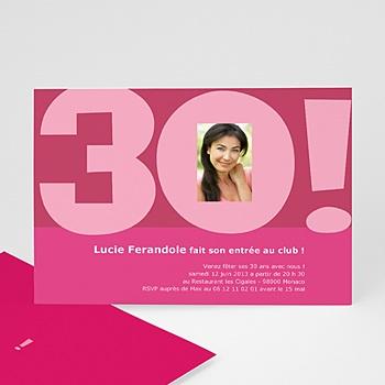 Carte invitation anniversaire adulte 30 ans femme