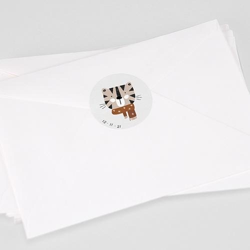 Etiquette Autocollante Naissance Tigre de Sibérie & Date de naissance, Ø 4.5 cm