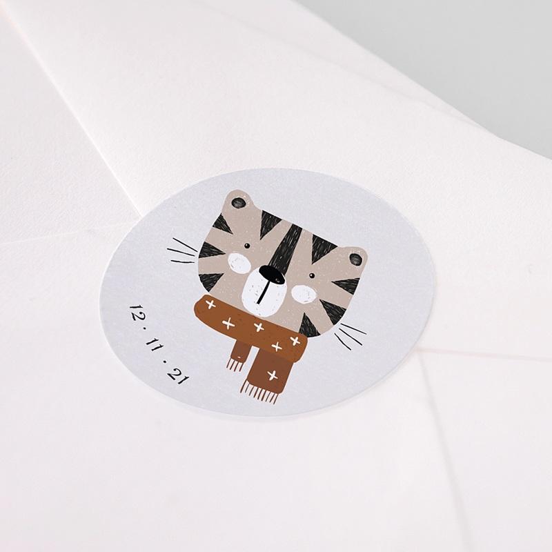 Etiquette Autocollante Naissance Tigre de Sibérie & Date de naissance, Ø 4.5 cm pas cher