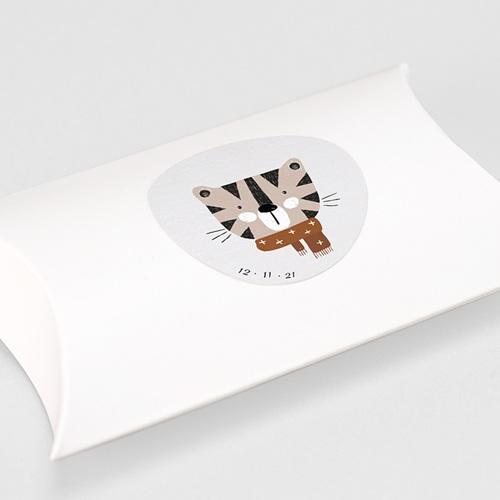 Etiquette Autocollante Naissance Tigre de Sibérie & Date de naissance, Ø 4.5 cm gratuit