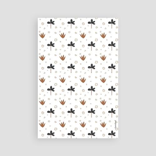 Carte Remerciement Naissance Garçon Tigre de Sibérie, Motif aloe vera & Fleur pas cher