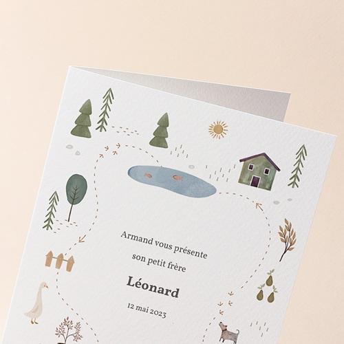 Faire-Part Naissance Mixte Maison du Bonheur, double volet, 12 x 17 cm gratuit
