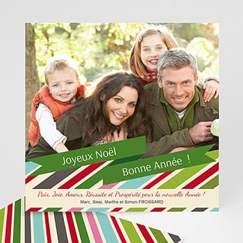 Carte de voeux Joyeux Noë et Bonne Année rayures du Coeur personnalisé