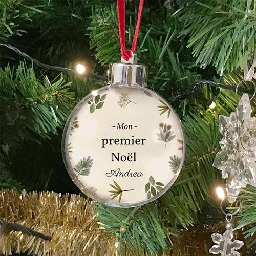 Boule Sapin Noël Personnalisée Premier Noël, Belle typographie, Fond beige