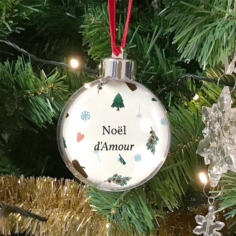 Boule Sapin Noël Personnalisée Noël d'Amour, Sapins & flocons, Ø 7,5 cm