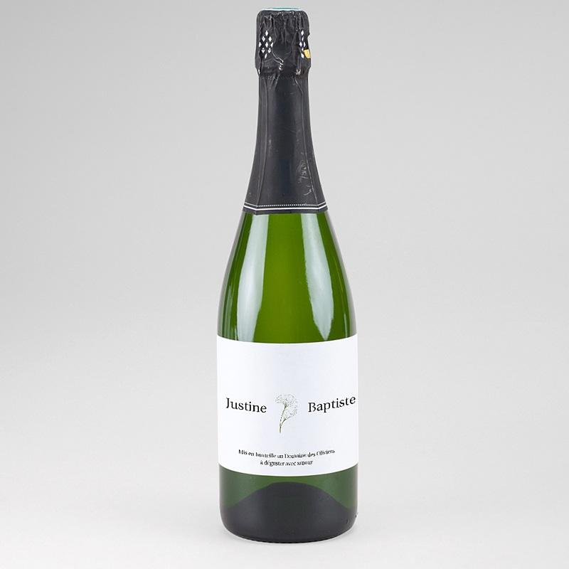 Etiquette Bouteille Champagne Feuille de Ginkgo Biloba, Champagne, 13 x 8 cm