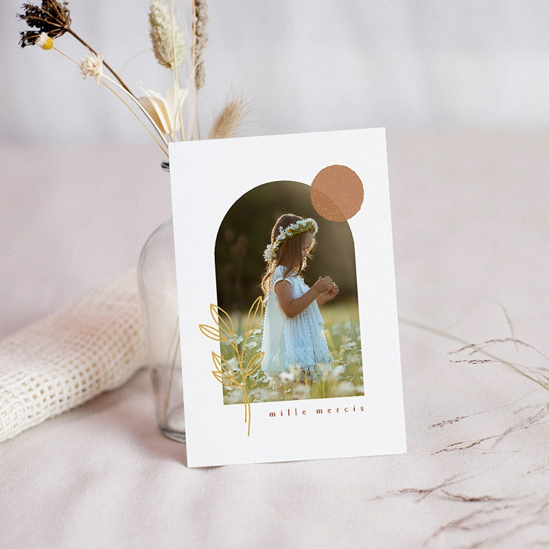 Carte Remerciement Communion Fille Nourriture spirituelle, Photo & rameau doré