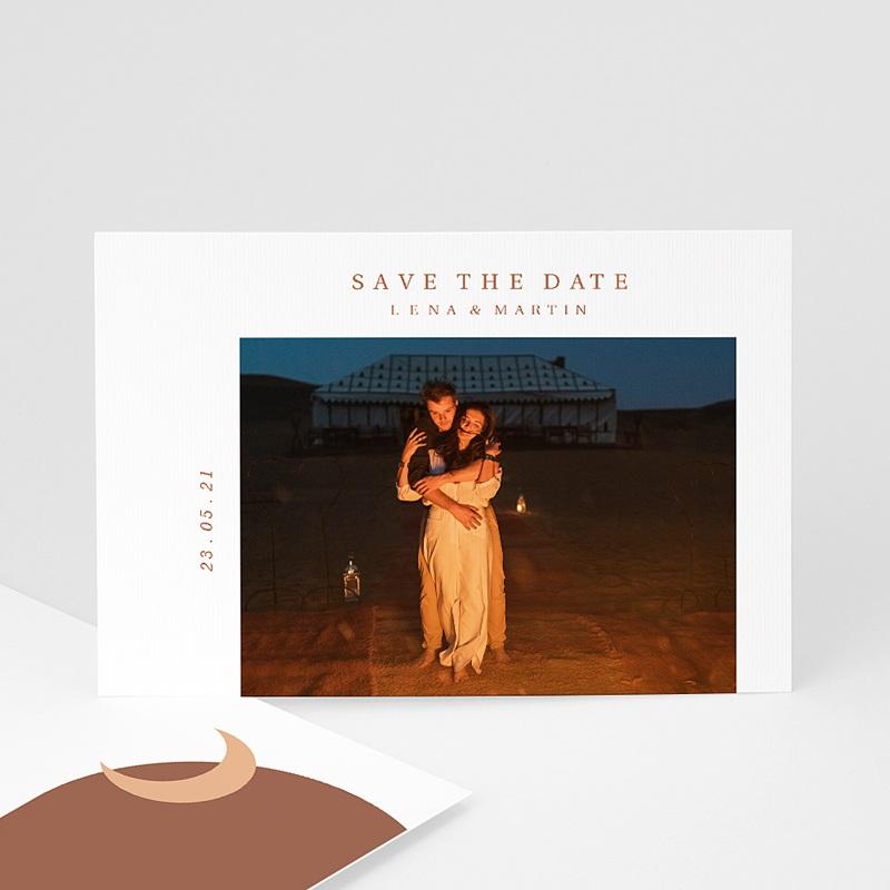 Save The Date Mariage Invitation au Voyage, Couleurs Sahara, Photo