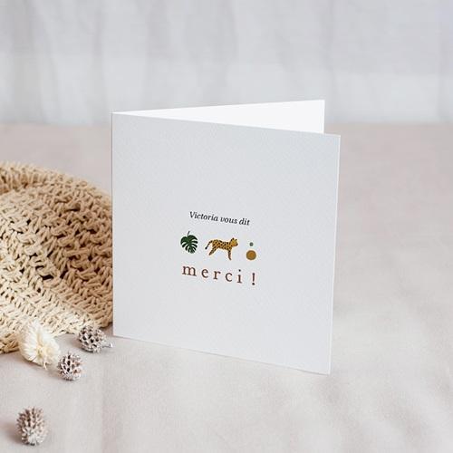 Carte Remerciement Naissance Fille Joli Safari, double volet, 9,5 x 9,5 cm
