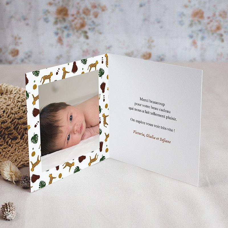 Carte Remerciement Naissance Fille Joli Safari, double volet, 9,5 x 9,5 cm pas cher