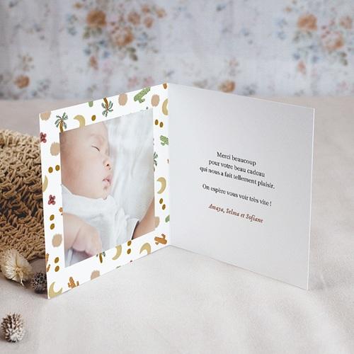 Carte Remerciement Naissance Fille Désert en Folie, Photo & Double volet pas cher