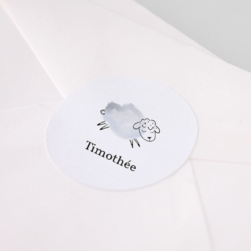 Etiquette Autocollante Naissance Mouton gris bleu, autocollant, 4.5 cm pas cher