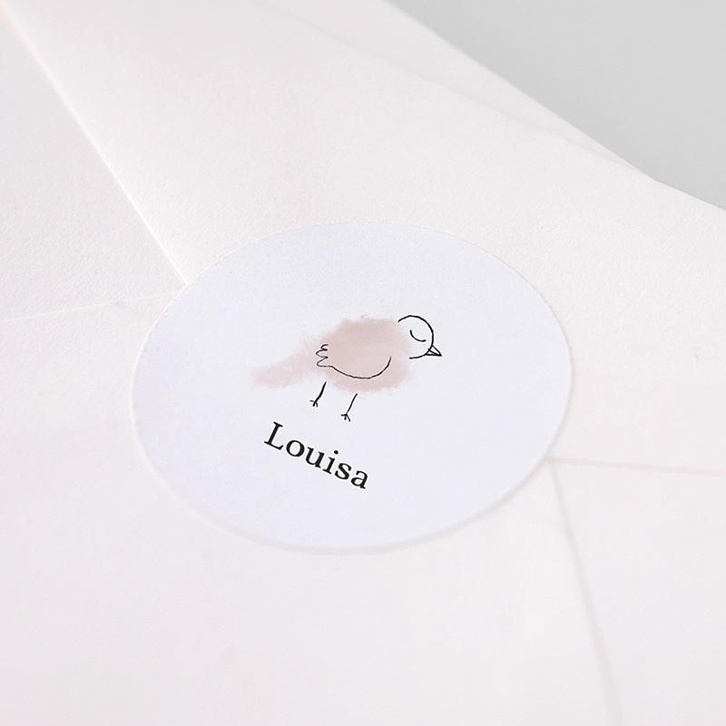 Etiquette Autocollante Naissance Mésange rose, autocollant, 4.5 cm pas cher