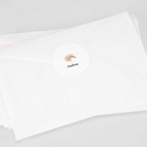 Etiquette Autocollante Naissance Renard Roux, tout doux, 4,5 cm