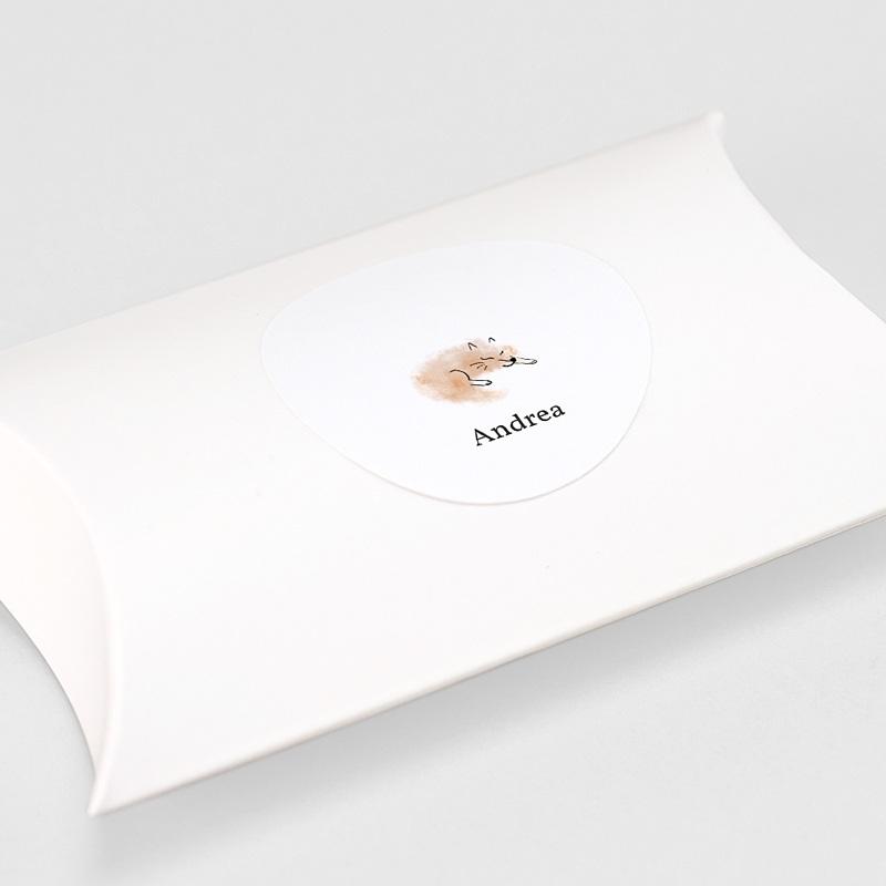 Etiquette Autocollante Naissance Renard Roux, tout doux, 4,5 cm gratuit