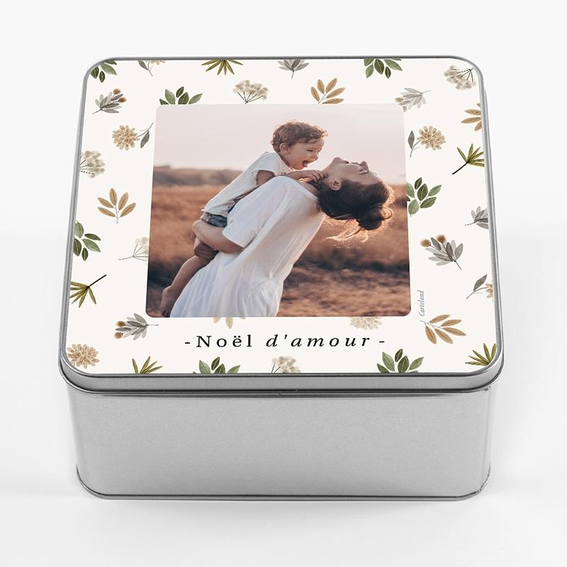Boîte Personnalisée Photo Doux Noël, Photo & Décor Floral, 20,2 x 20,2 x 10 cm