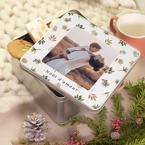 Boîte Personnalisée Photo Doux Noël, Photo & Décor Floral, 20,2 x 20,2 x 10 cm pas cher